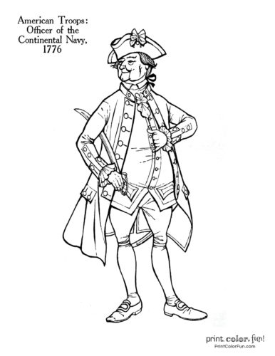 Soldiers of the Revolution coloring pages - Officer of the Continental Navy 1776