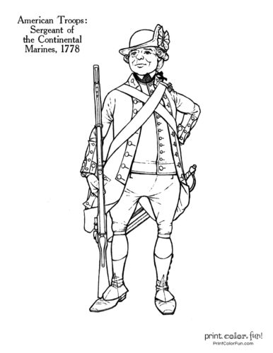 Soldiers of the Revolution coloring pages - Sergeant of the Continental Marines 1778