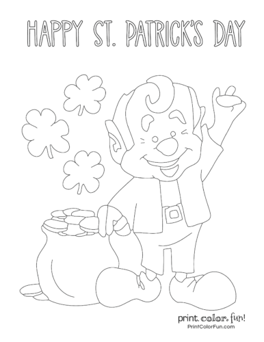 Leprechaun patrick day - St. Patrick's Day Adult Coloring Pages | 500x386