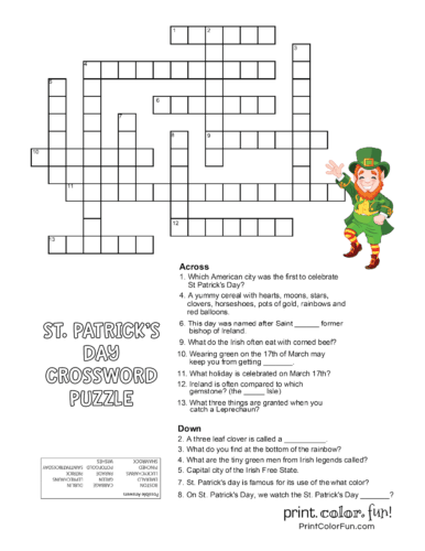 St Patrick's Day crossword puzzle for kids (1)