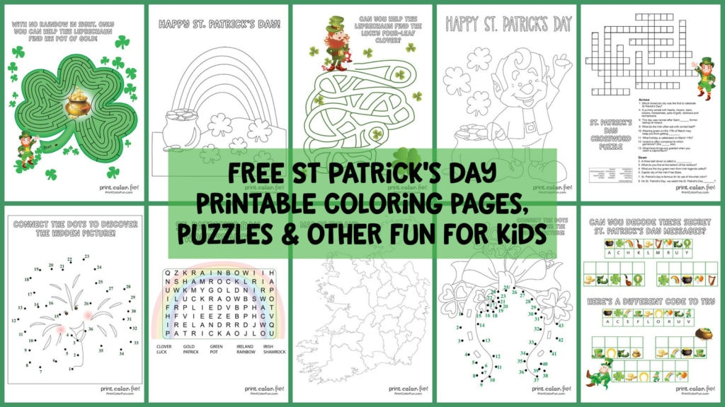 photo regarding St Patrick Day Puzzles Printable Free identified as 14 cost-free St Patricks working day printable coloring webpages, puzzles