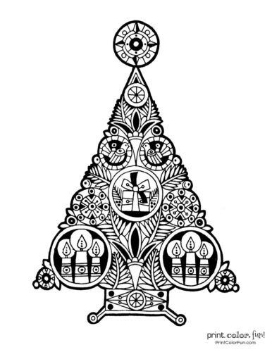 Stylized Christmas tree coloring page (1)