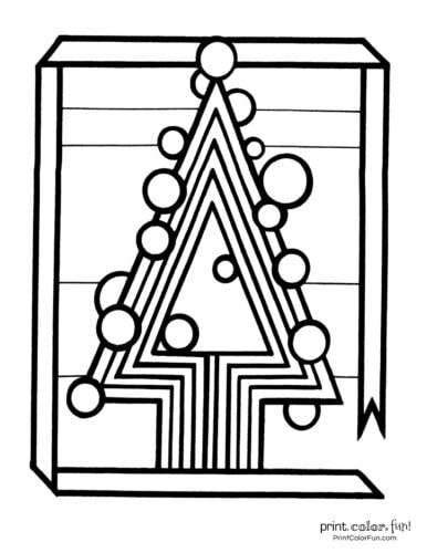 Stylized Christmas tree coloring page (2)