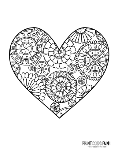 Stylized floral heart coloring page
