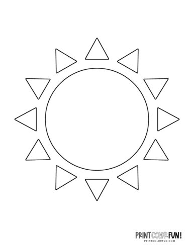 Sun shape coloring page (3)