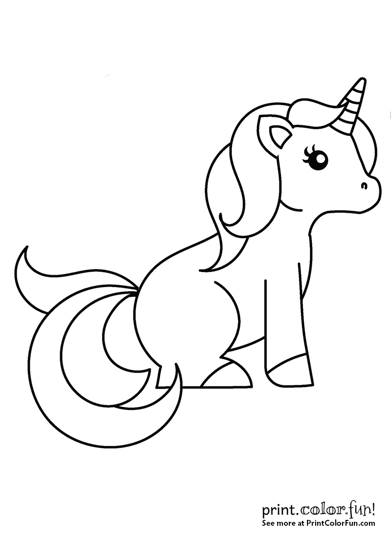 Eenhoorn Kawaii Kleurplaat Sweet Little Unicorn Sitting Down Coloring Page Print