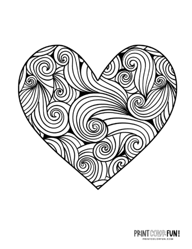 Swirly zen doodle heart coloring pages