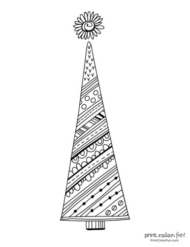 Tall Christmas tree with decorative patterns