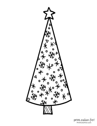 Tall and thin Christmas tree coloring page