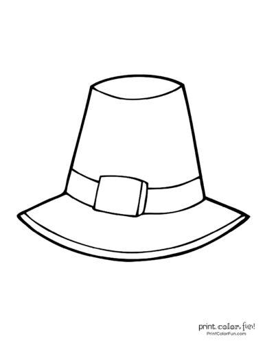Thanksgiving symbols -Pilgrim hat coloring