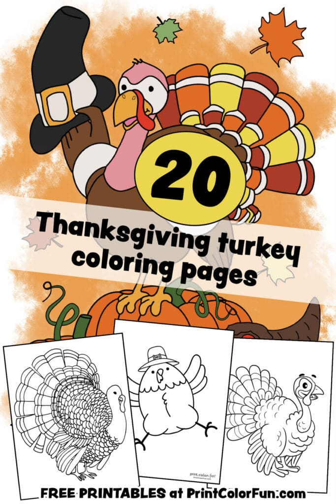 Thanksgiving turkey coloring pages for some free printable holiday fun