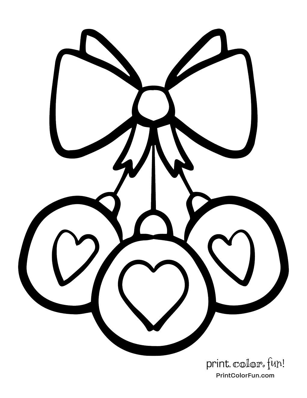 Three Hearts Christmas Ornament With Bow Coloring Page