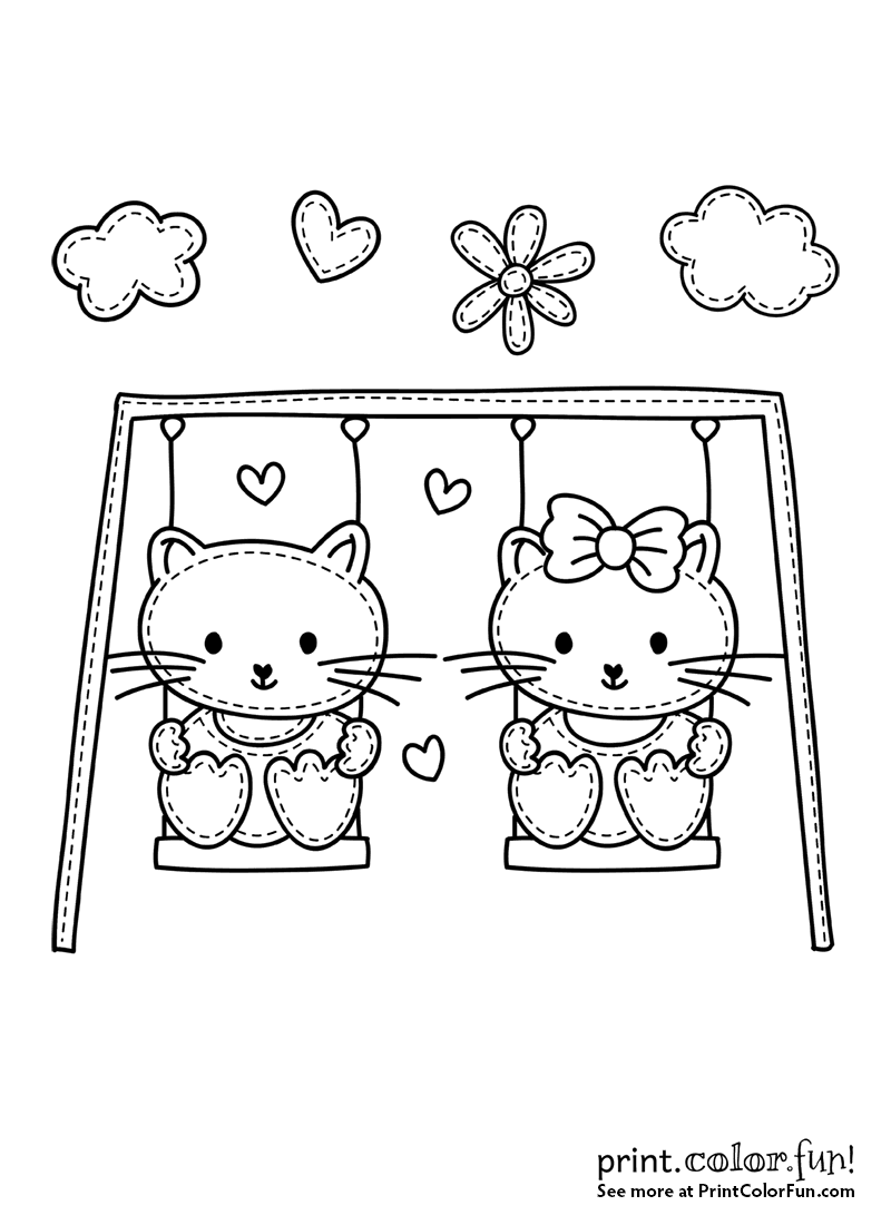 Two Cute Cats On A Swing Coloring Page Print Color Fun