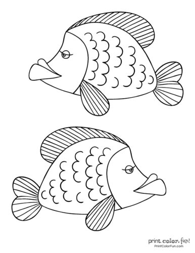 Two cute fish free coloring page from PrintColorFun com (1)