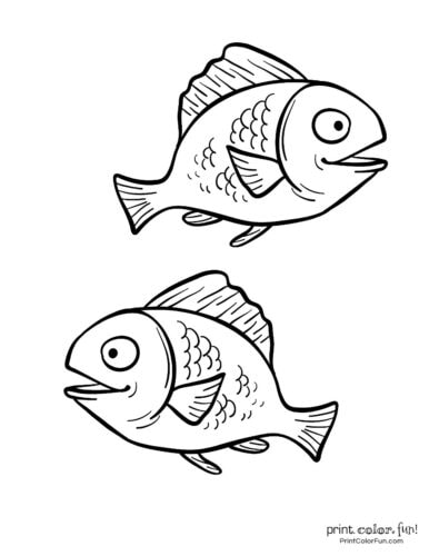 Two cute fish free coloring page from PrintColorFun com (2)