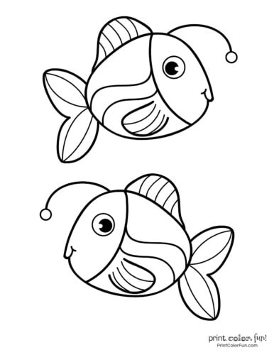 Two funny fish coloring printable from PrintColorFun com (1)