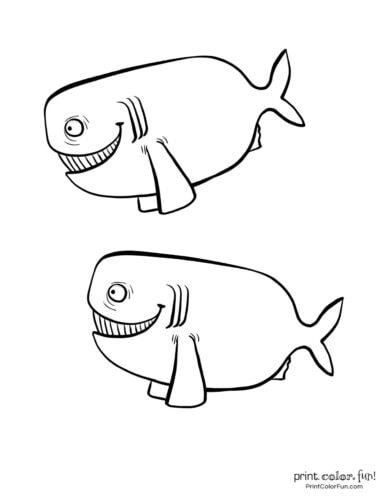 Two funny fish coloring printable from PrintColorFun com (2)