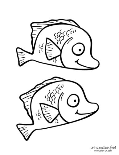 Two funny fish coloring printable from PrintColorFun com (3)