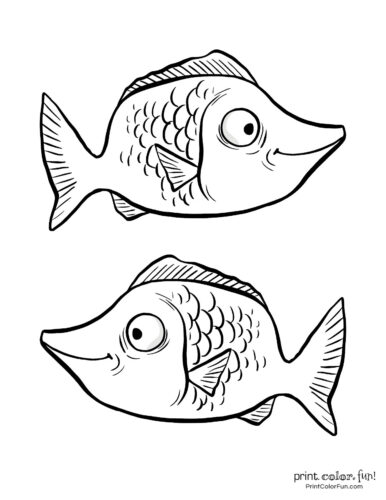 Two funny fish coloring printable from PrintColorFun com (4)