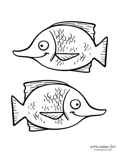 Two funny fish coloring printable from PrintColorFun com (5)