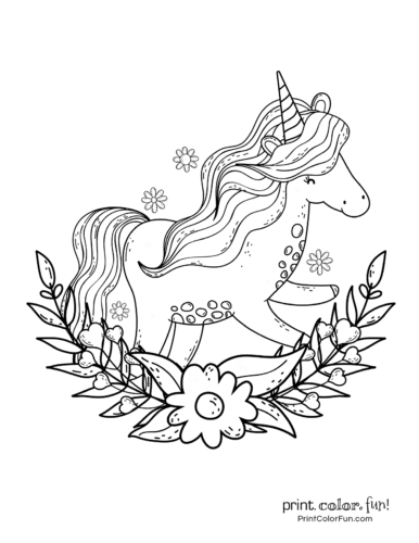 Unicorn Coloring Page Free - Coloring Home | 500x386