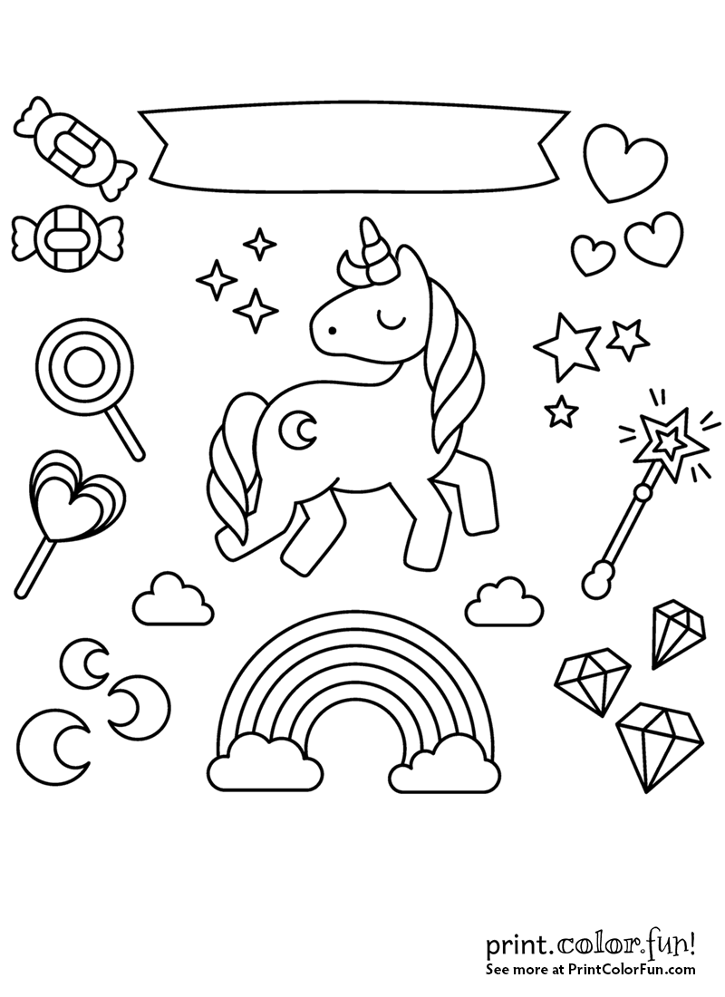 Unicorn with rainbow, stars and candy coloring page ...
