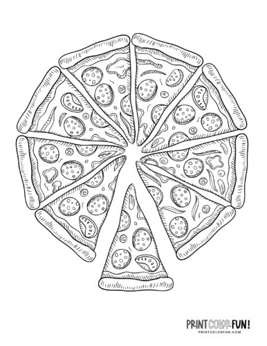 Pizza Coloring Pages Slices Whole Pizza Pies Print Color Fun
