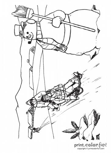 Winter-sledding-and-snowman