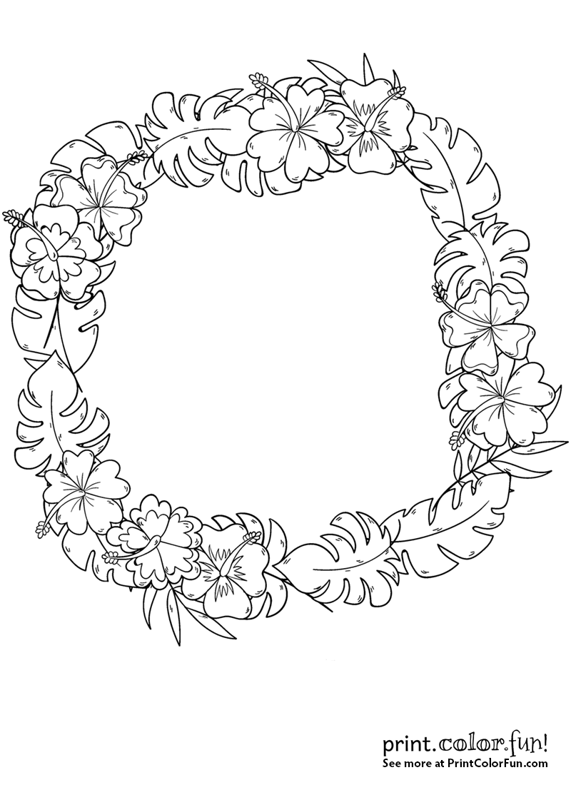 Wreath with tropical flowers coloring