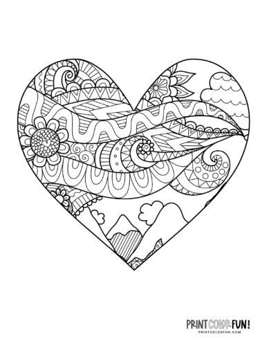 Zen doodle heart coloring book page