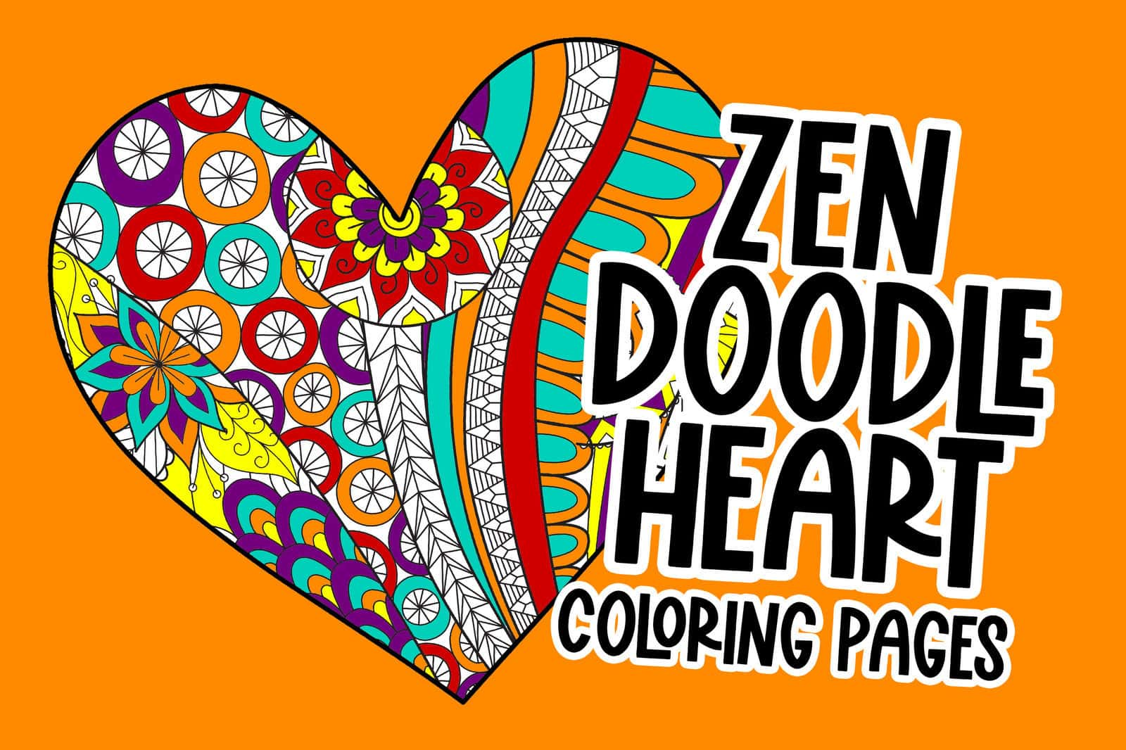 Zen doodle heart coloring pages