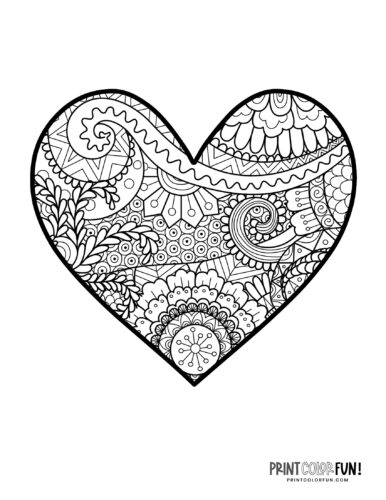Zendoodle heart coloring page