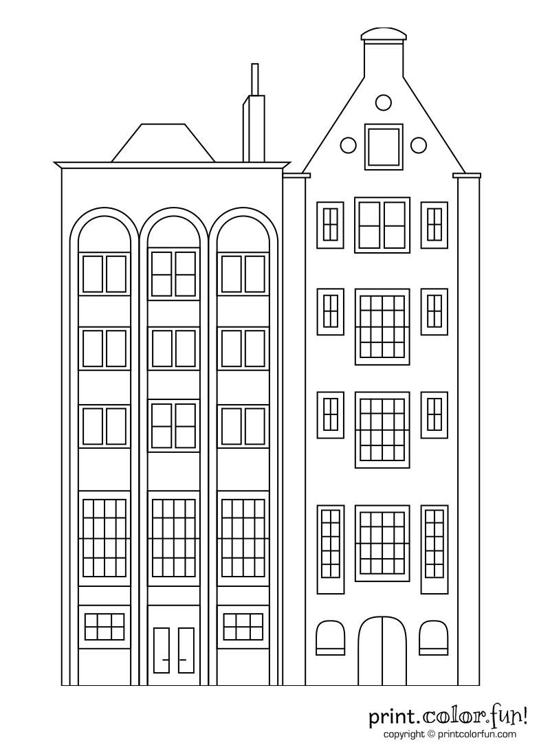 Stylish apartment buildings coloring
