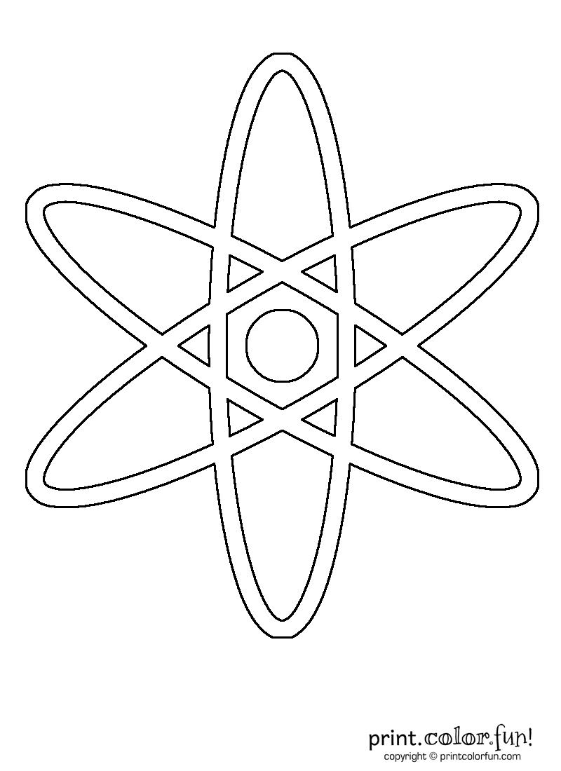 Atom coloring page Print Color Fun