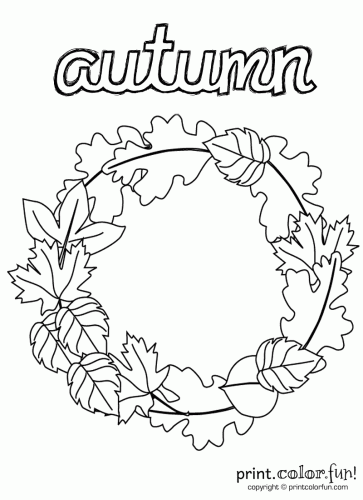 Autumn Wreath Coloring Pages