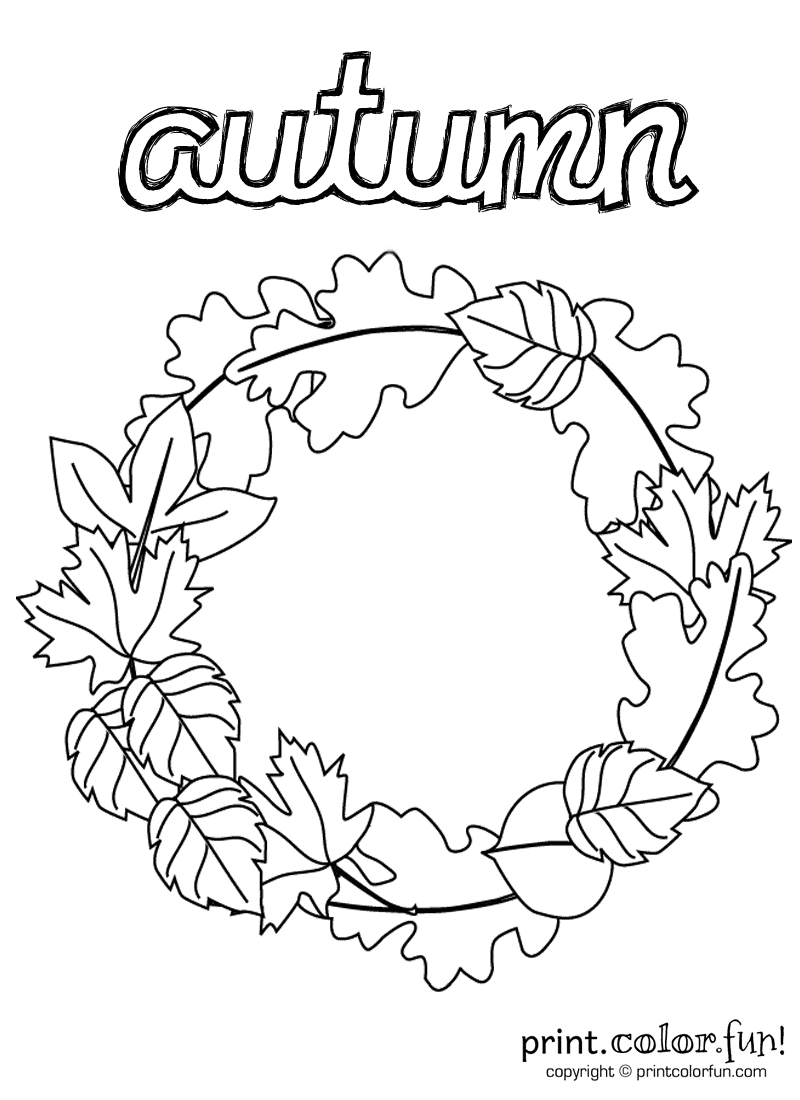 Autumn wreath coloring page print color fun for Printable coloring pages for kids fall