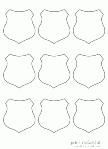 9 blank shields coloring page Print Color Fun