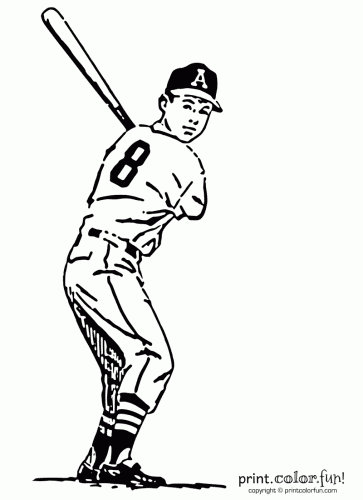 Baseball Player Coloring Page Print Color Fun