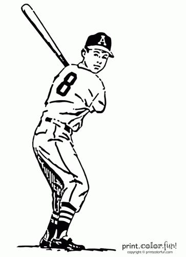 Baseball Player Coloring Page Print Color Fun