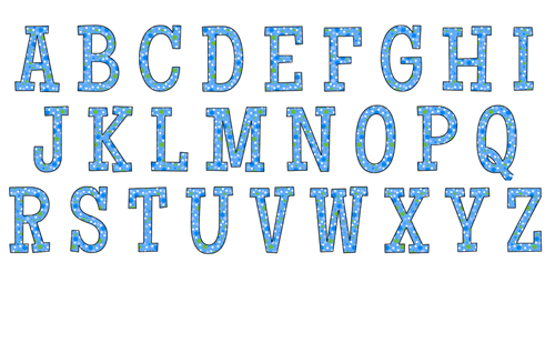 Blue polka dot alphabet coloring