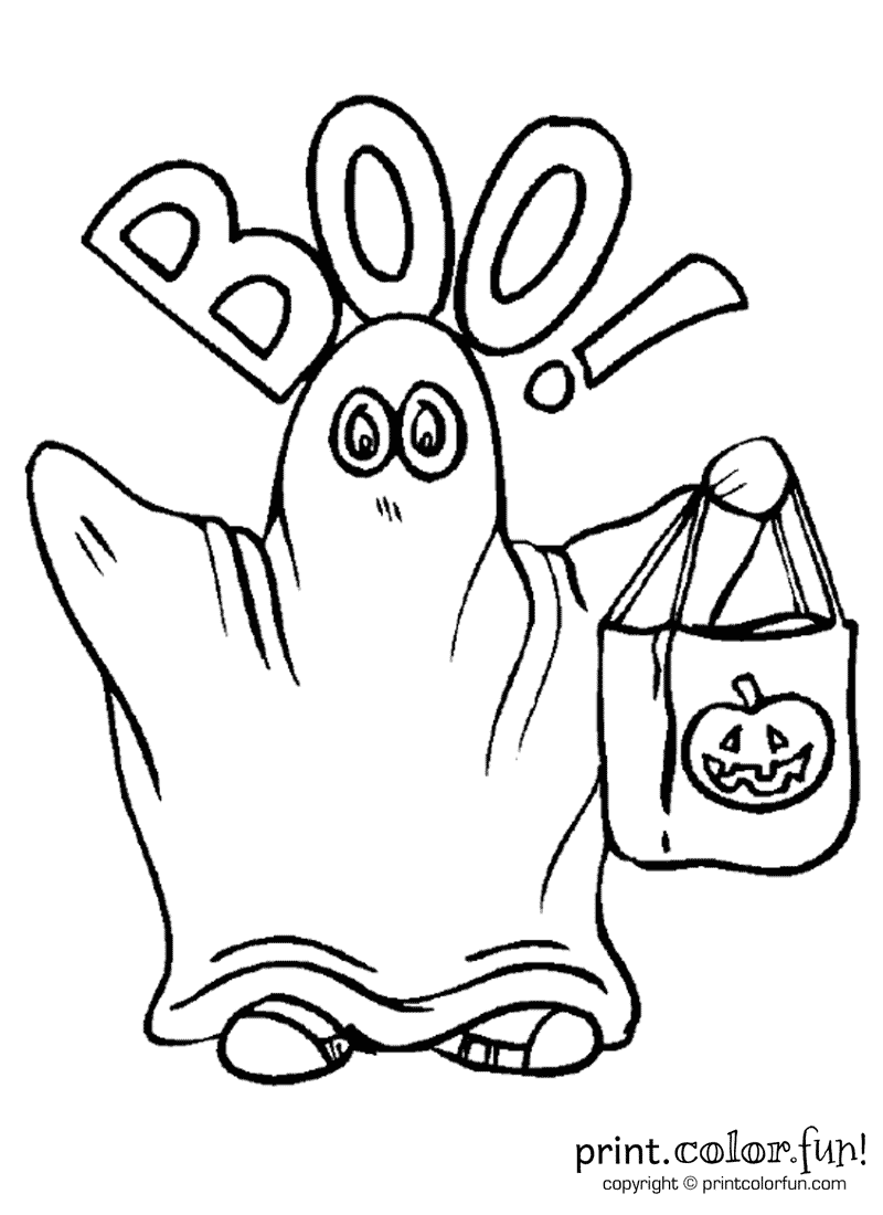 Ghost with a candy bag coloring