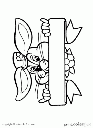 Easter Bunny Holding A Sign Coloring Page Print Color Fun