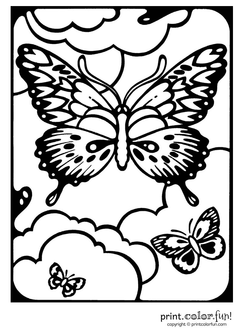Butterflies In A Window Coloring Page