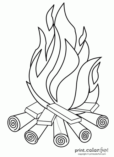Campfire coloring page Print Color Fun
