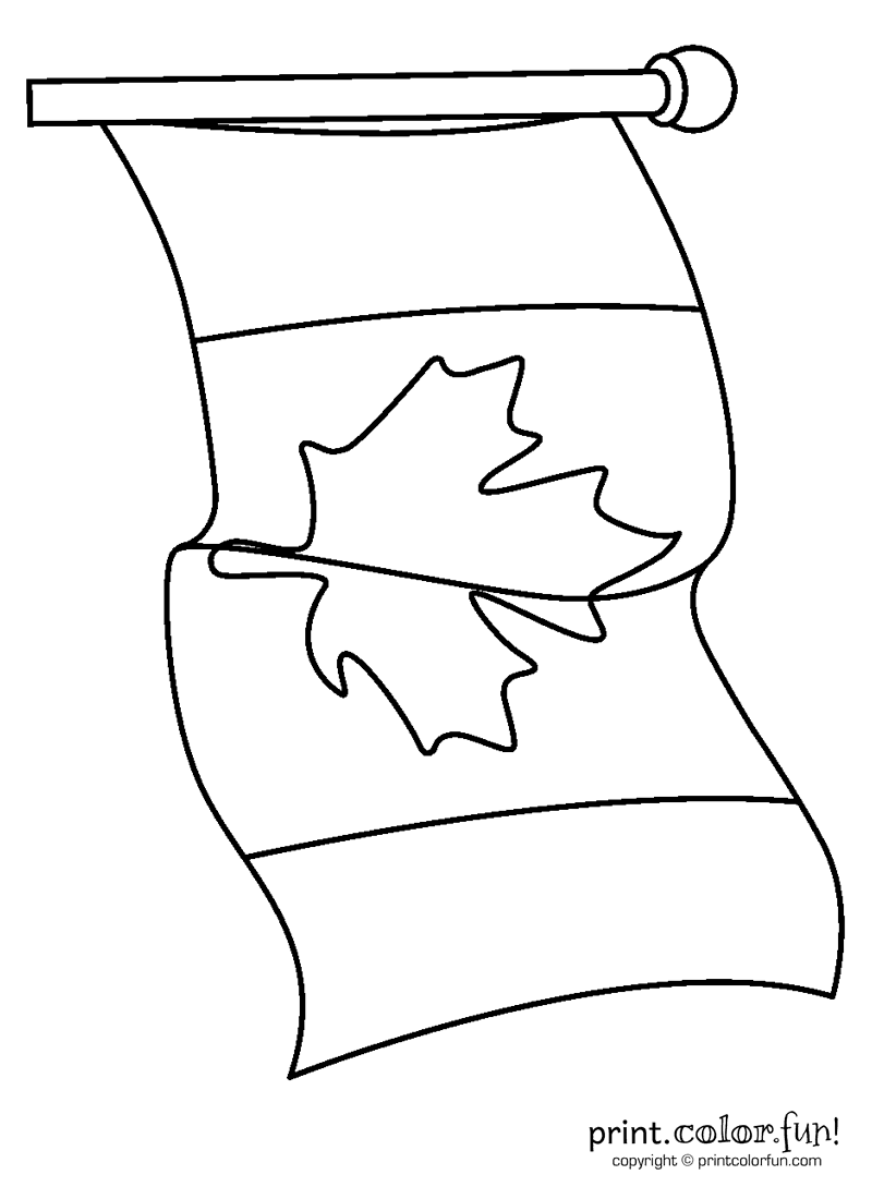 Canadian Flag Waving Coloring Page