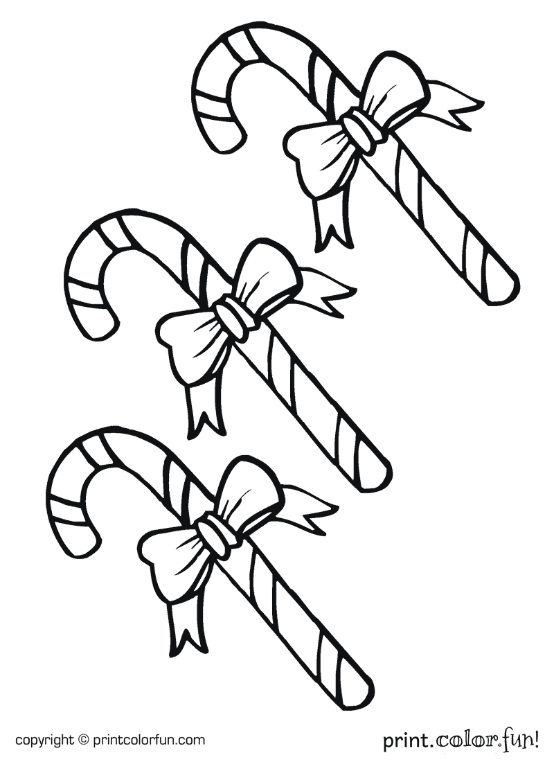 Candy canes coloring page Print