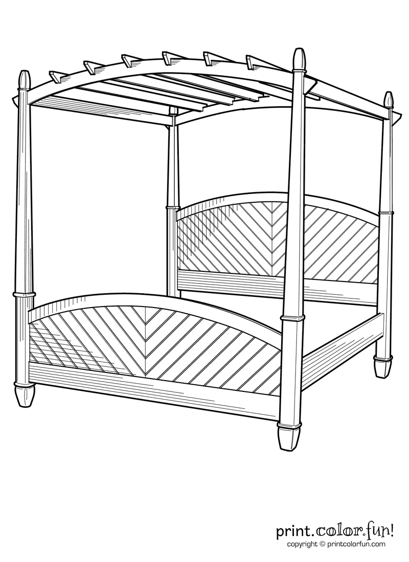 Bed Canopy Coloring Page Print Color Fun