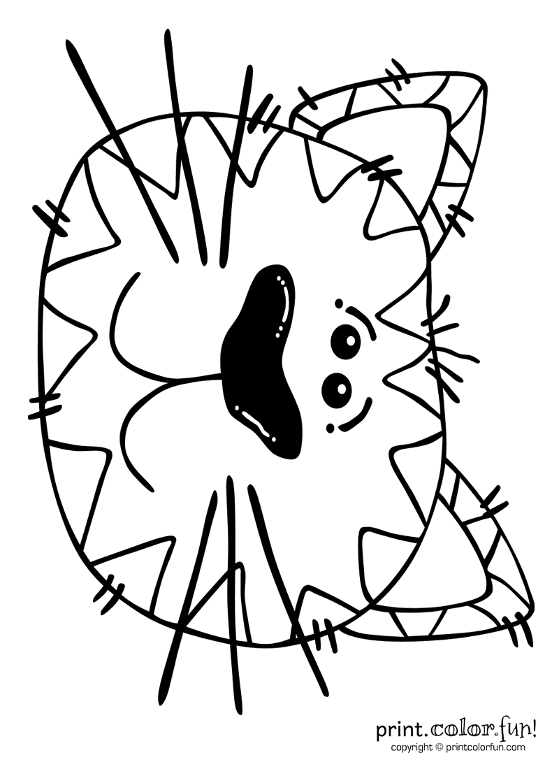 Cartoon Cat Coloring Page Print Color Fun