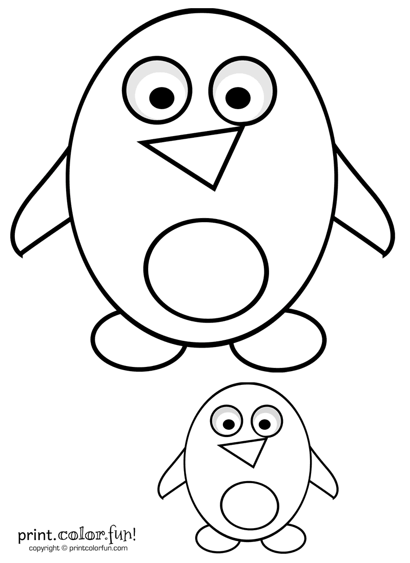 Big Amp Little Cute Cartoon Penguins Coloring Page Print