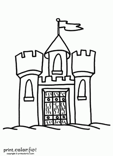 Castle with flag coloring page